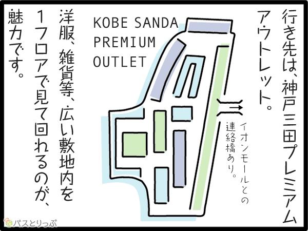 行き先は、神戸三田プレミアムアウトレット。洋服、雑貨等、広い敷地内を1フロア見て回れるのが、魅力です。