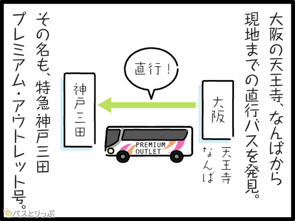 大阪の天王寺、なんばから現地までの直行バスを発見。大阪天王寺なんば→直行!→神戸三田 その名も、特急神戸三田プラミアム・アウトレット号。