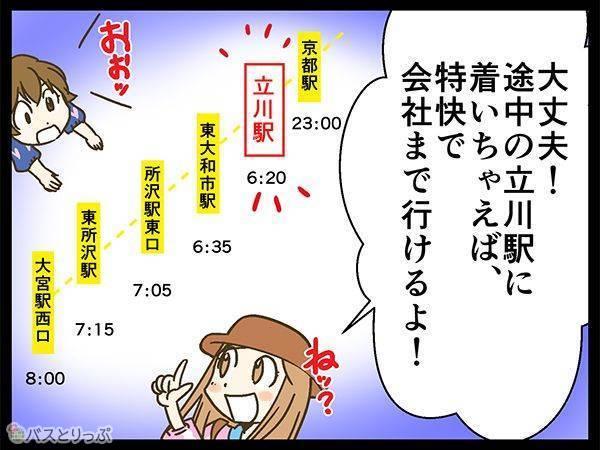 大丈夫!途中の立川駅についちゃえば、特快で会社まで行けるよ!