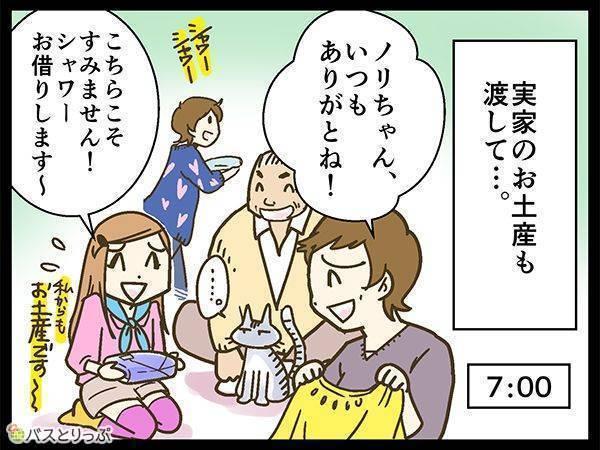 実家のお土産も渡して…。7:00 ノリちゃん。いつもありがとね!こちらこそすみません!シャワーお借りします〜