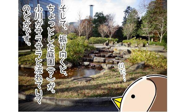 そして、振り向くと、ちょっとした庭園(?)が。小川がサラサラと流れていてのどかです。