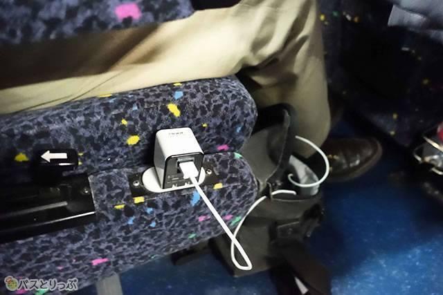 南海バス「大阪→長野」のコンセント