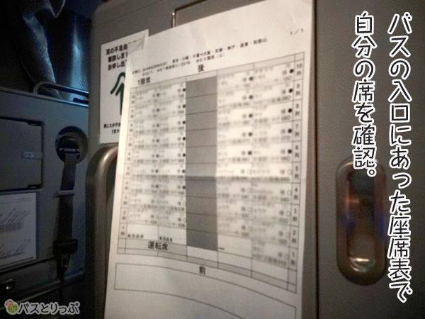 バスの入り口にあった座席表で自分の席を確認。