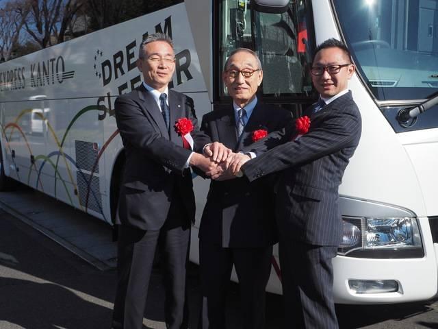 左から関東バス内藤社長、両備ホールディングス小嶋会長、松田副社長