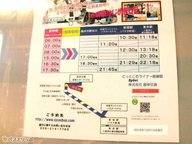 東京各方面行きの時刻表