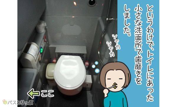 というわけで、トイレにあった小さな洗面所で歯磨きをしました。