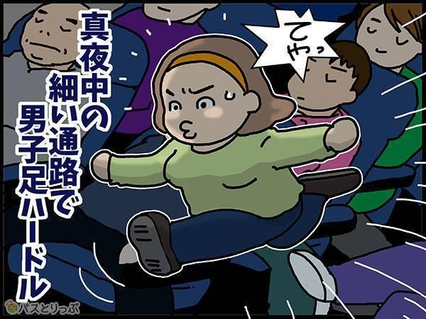 真夜中の細い通路で男子足ハードル てやっ!