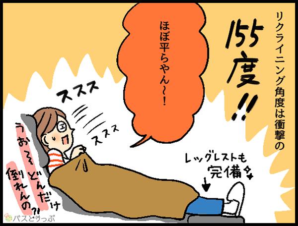 リクライニング角度は衝撃の155度!!ほぼ平らやん~! うお~どんだけ倒れんの?!