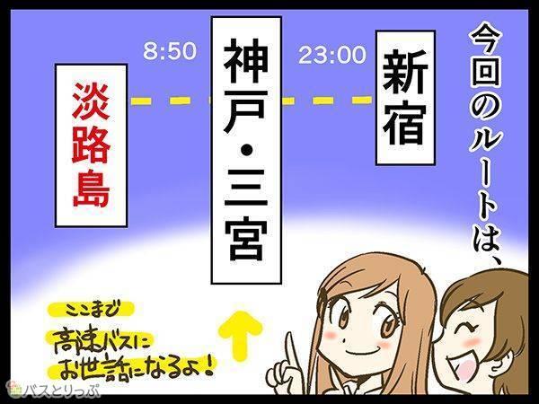 今回のルートは、新宿23:00---神戸・三宮8:50ここまで高速バスにお世話になるよ!---淡路島