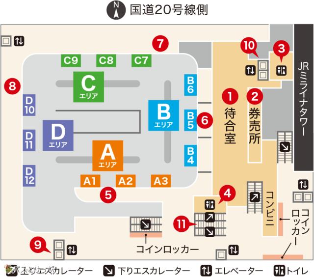 バスタ新宿4階バスターミナルのフロアマップ