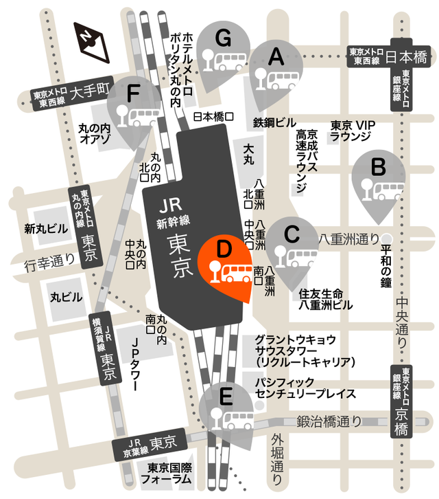 D:八重洲南口 JR高速バスターミナル
