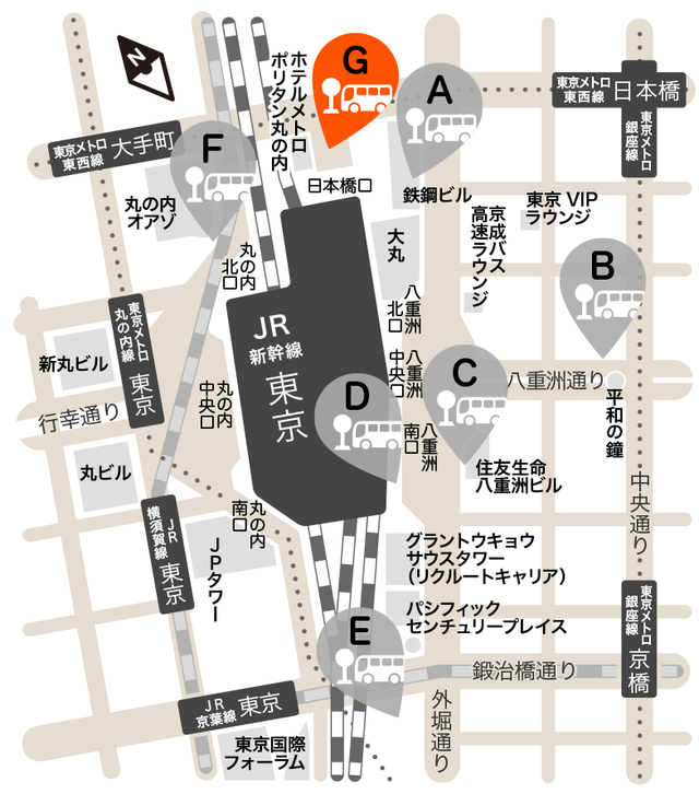 G:日本橋口 降車場