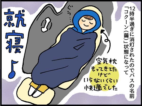 12時間過ぎ消灯されたのバスの名前「コクーン(繭)」状態になって就寝♪空気枕もってきてたけどいらないくらい快適でした