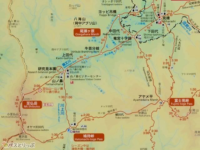 国立公園にあるマップから今回のコースを抜粋