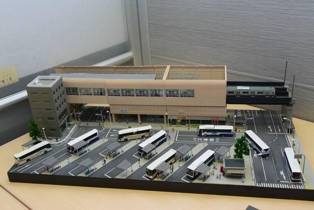 会場にはバスターミナルのジオラマも展示