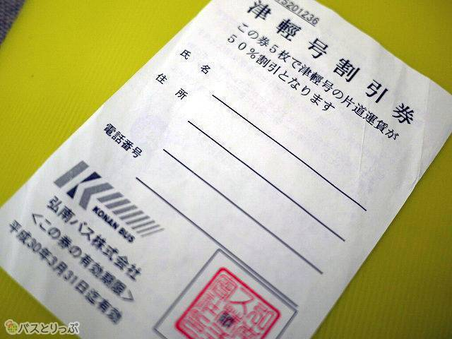 「津軽号」割引券。5枚集めたら50%引きになります。