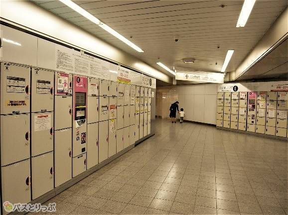 京王新線「新宿駅」改札近くのコインロッカー