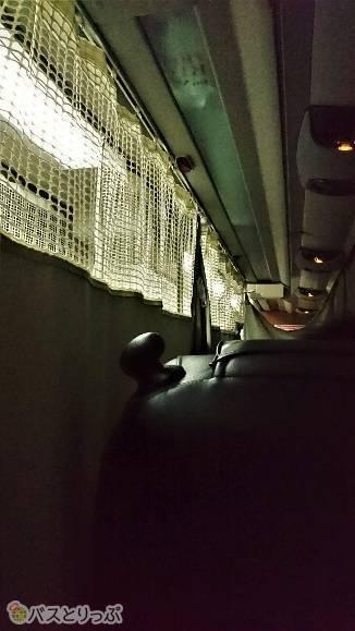 静岡サービスエリアを出る時に全てカーテンが閉められます