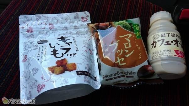 左から宮崎の「キャラいも」、「マロンブッセ」、「高千穂牧場のカフェオレ」