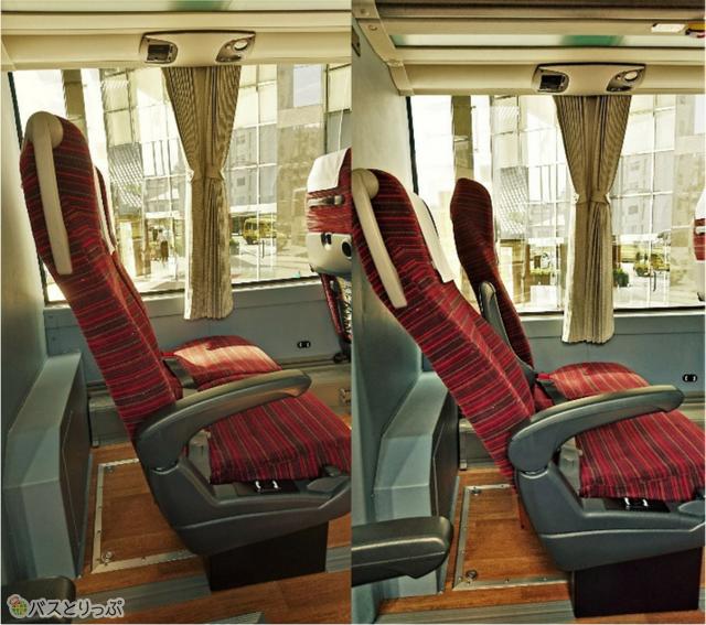 桜島号のシート。右はリクライニングを倒した状態。