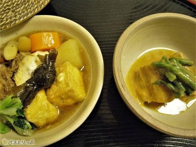 皮つきの三枚肉を泡盛や醤油で甘辛く煮たラフテー(豚の角煮)の味噌和え