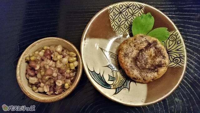 青豆と麦を使った沖縄ぜんざいと葛芋を使った天ぷら