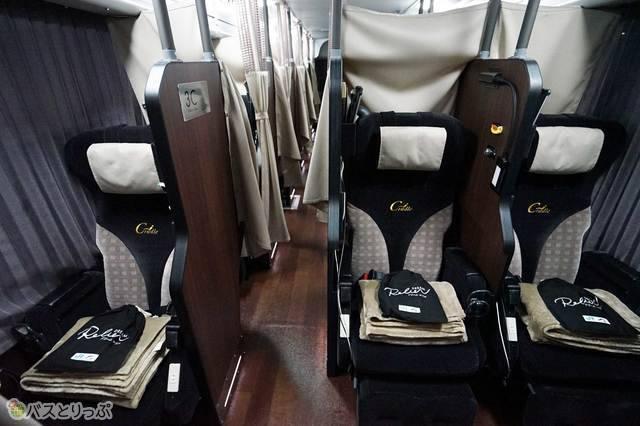 ルリエ・アドバンスクラスの独立3列シート&余裕のシートピッチ