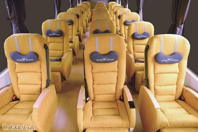 広いシート幅の独立3列シート