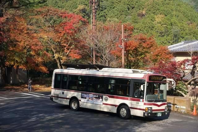 京都バスの路線の中でも西の端に位置する右京地区の清滝