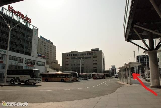 新潟駅南口バスターミナル。正面奥に見えるビルがPLAKA2