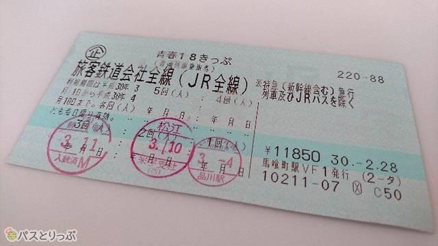 3日分使用した青春18きっぷ