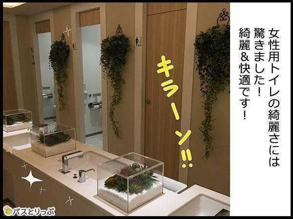女性用トイレの綺麗さには驚きました!綺麗&快適です!