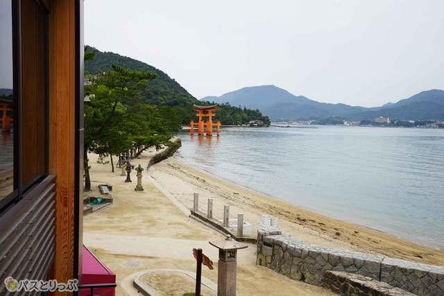 厳島神社の大鳥居を見ることができます