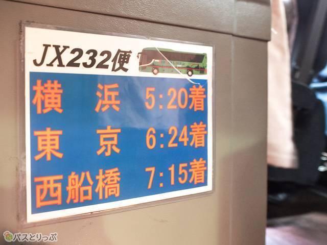 JX232便は横浜・東京を経由し、西船橋まで向かいます