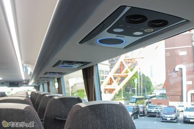 照明のON/OFFと空調の調整ができるコントロールパネル