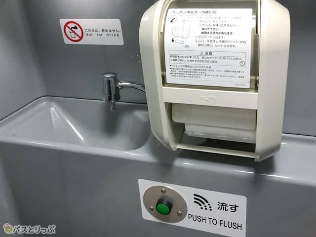 手洗い・ペーパーホルダー・流すボタン