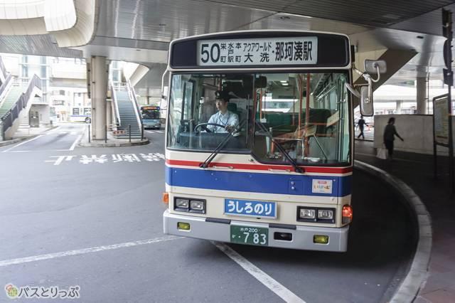 大洗海岸経由の那珂湊駅行き路線バス(茨城交通)