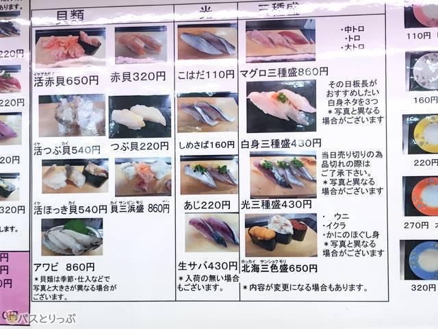 「回転寿司 森田」料金表