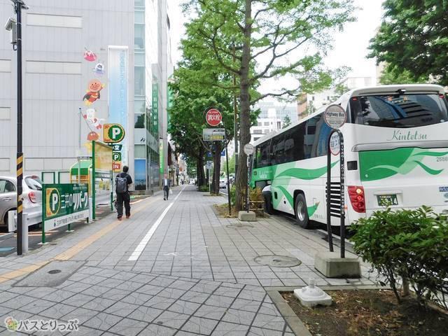 降車する仙台駅前40番バス亭。仙台高速バスセンターの前です