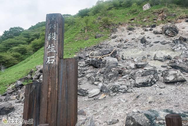 千体地蔵などのある賽の河原を通っていくと殺生石が