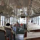 士別軌道本社前発車時の「モノコックバス」車内