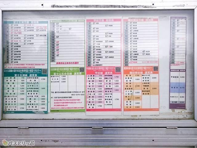 深大寺BT 下り方面のバス停にある時刻表。長野、名古屋、山梨方面に多くのバスが出ている 上