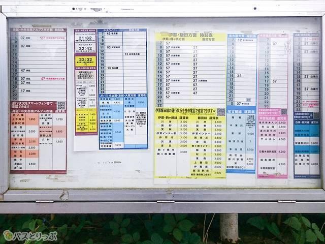 深大寺BT 下り方面のバス停にある時刻表。長野、名古屋、山梨方面に多くのバスが出ている 下