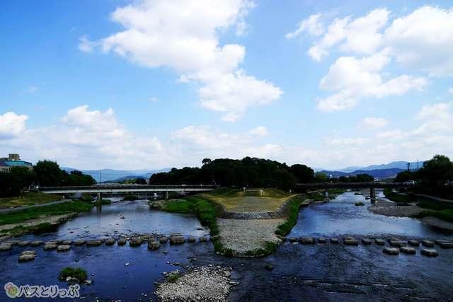 ふたつの川が合流する出町柳付近