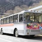関電トンネルトロリーバスの車両デザイン(2017年撮影)。正面はトロリーバスラストイヤーの特別ラッピングが施されている