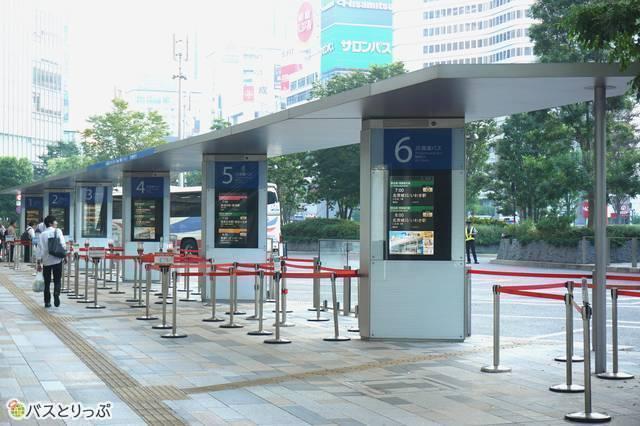 かしま号の発着点、東京駅の高速バス1番乗り場は最も北側に位置する