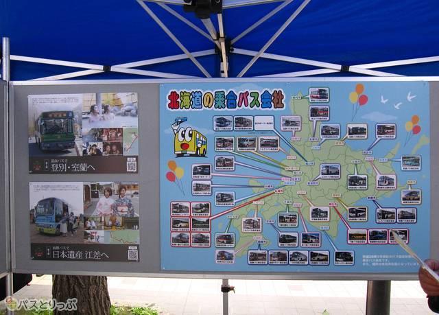 北海道のバス事業を紹介するパネル展示