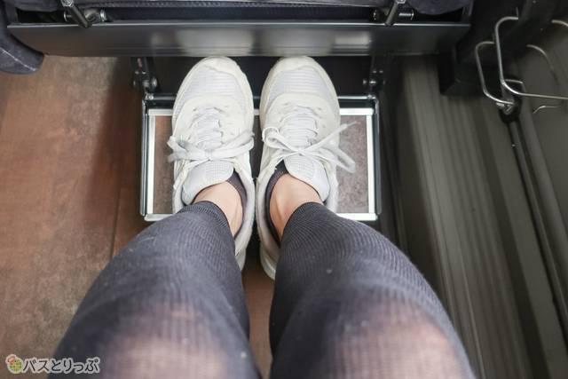 新宿~長野線 プライムシート 足置きは靴のままと脱いで使えるようリバーシブル。わお