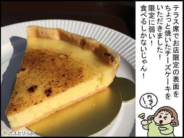 テラス席でお店限定の表面をちょっと焼いたチーズケーキをいただきました!限定に弱い!食べるしかないじゃん!