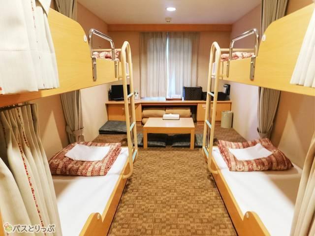 個室の部屋タイプは「ファースト」。4ベッドで、2名~4名で宿泊可能